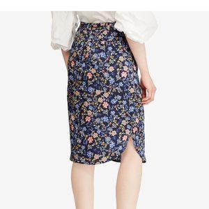 Ralph Lauren NEW navy blue floral skirt sz 10 belt